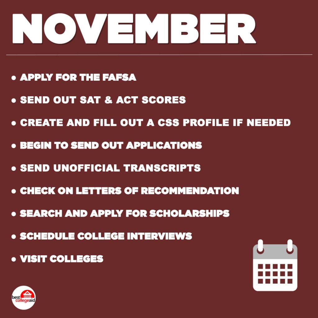 Senior Year Checklist November Best College Aid