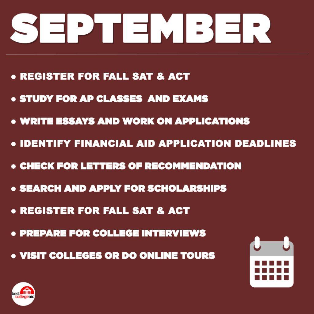 Senior Year Checklist September Best College Aid