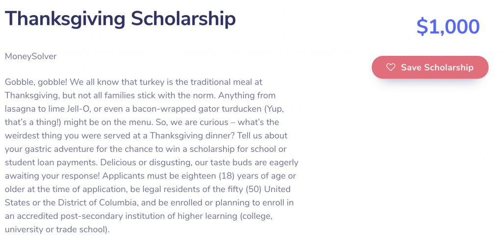 Thanksgiving Scholarship