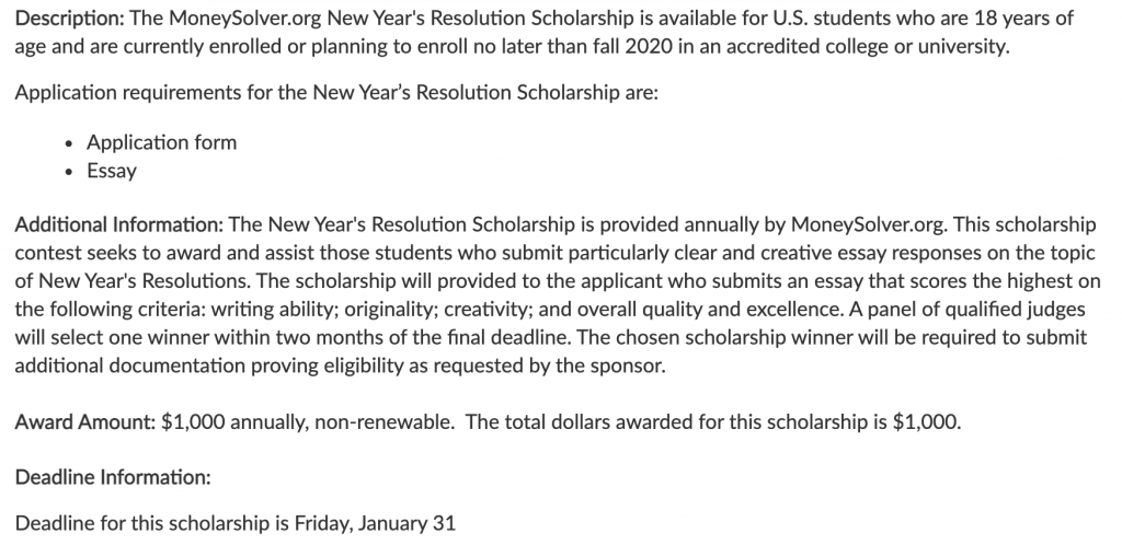 New Year's Resolution Scholarship