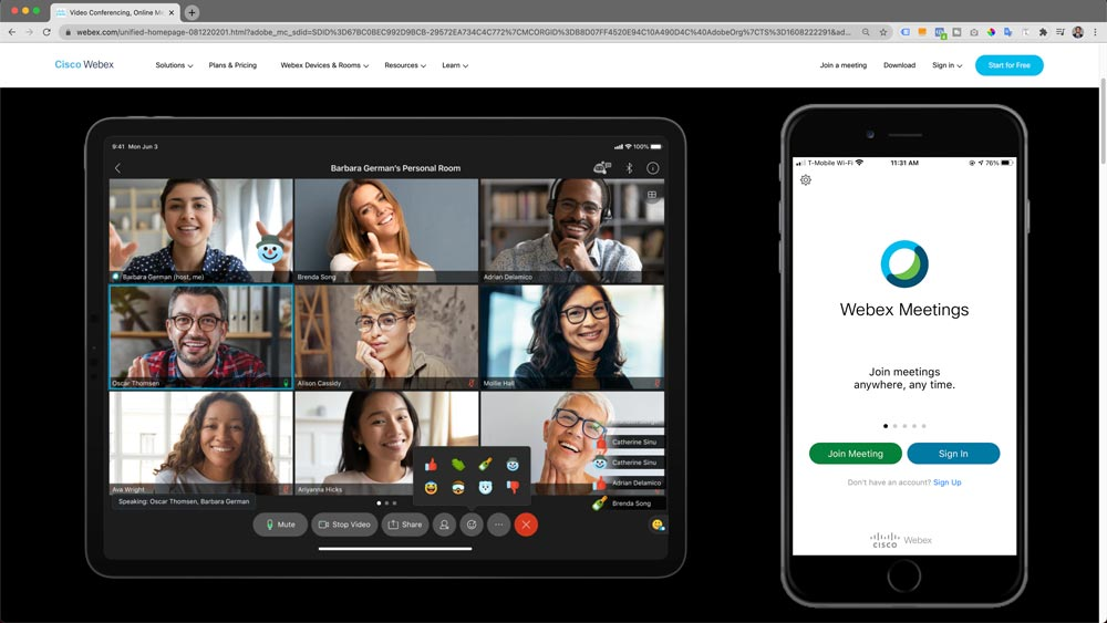 Webex Homepage and Mobile App